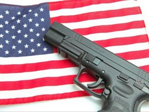 flag and gun