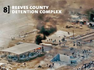 Reeves County Detention Complex smolders following prisoner riots.