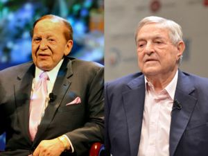 Sheldon Adelson, left, and George Soros.