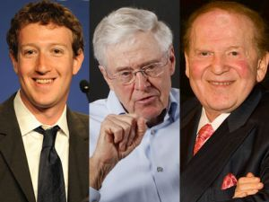 Mark Zuckerberg, Charles Koch, and Sheldon Adelson
