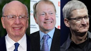 Rupert Murdoch, Tim Cook, and Xavier Trias