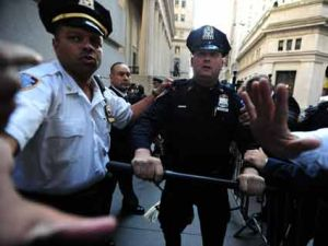 cops with baton at occupy wall street