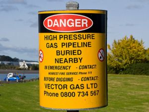 Danger high pressure gas line