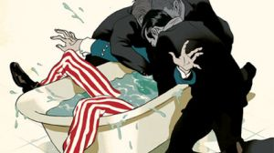 Uncle Sam drowning in a bathtub