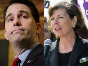 Scott Walker and Kathleen Falk