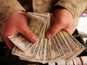 Marine holding money