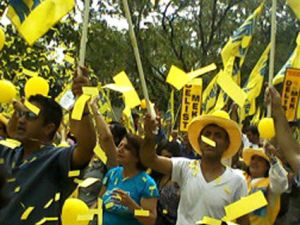 MEK supporters rally in front of the US State Department on Aug. 26, 2011.
