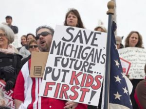 Michigan citizens protest Governor Rick Snyder's cuts to education funding
