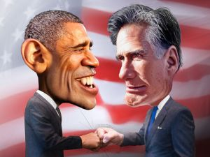 obama romney caricature