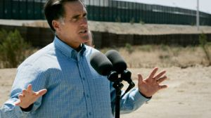 romney at the wall