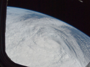 A photo of Hurricane Sandy from space