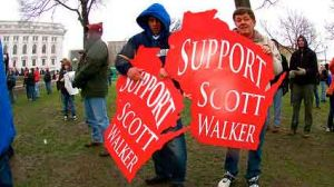 Tea party supporters of Gov. Scott Walker rally in Madison on April. 16, 2011.