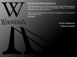 Wikipedia blackout screen