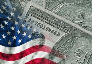 an american flag and money