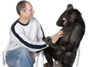 man and chimp