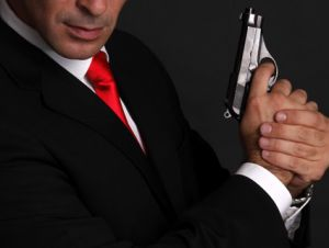 CIA agent suit gun red tie