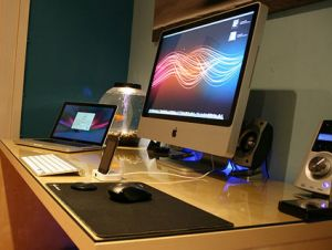 desk with gadgets