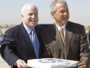 John McCain and George W. Bush with cake