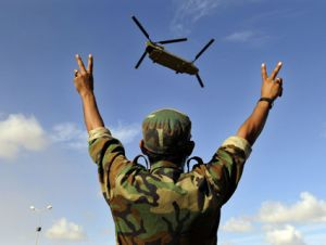 libyan fighter celebrates