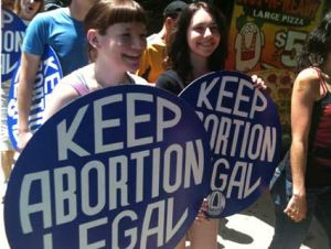 Women with Keep Abortion Legal signs