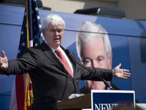 Newt Gingrich making a sweeping gesture