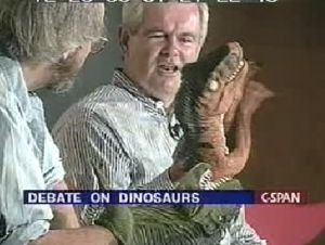Newt Gingrich with dinosaurs