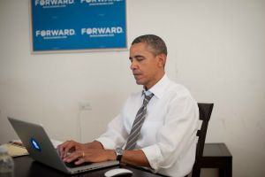 "President Obama answering question during his ""Ask Me Anything"" on Reddit."