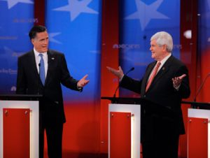 Romney and Gingrich dueling at Monday night's GOP debate in Tampa.