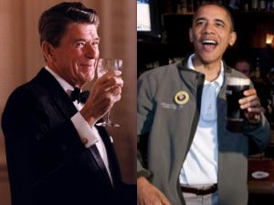 ronald reagan toasting barack obama beer