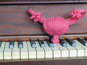 Knitted vagina, uterus and ovaries