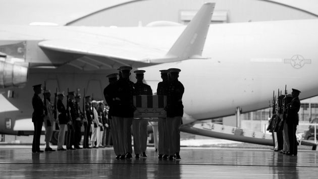 The caskets of US ambassador to Libya J. Christopher Stevens, foreign service of