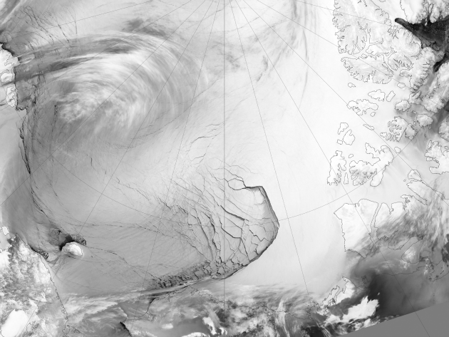 Gigantic area of sea ice caught in the process of fracturing in the Arctic Ocean