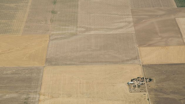 Aerial view of drought-affected farmland near Strasburg, Colorado, on July 21, 2