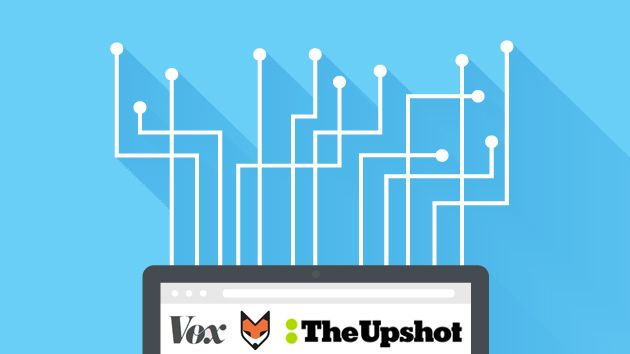 vox 538 and the upshot logos on computer background