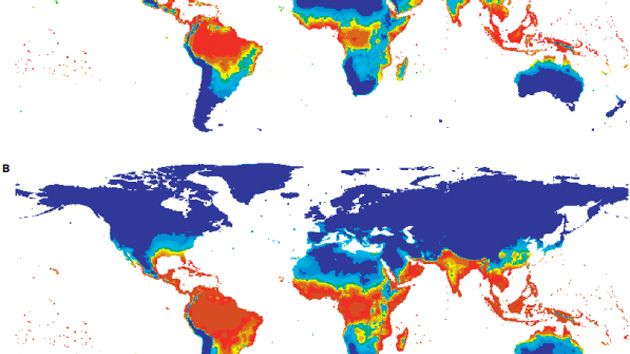 Estimated Population at Risk for Dengue Fever in 1990 (A) and 2085 (B) Based on