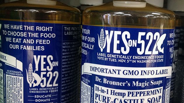 Yes on 522 logos on Dr. Bronner's soap bottles: