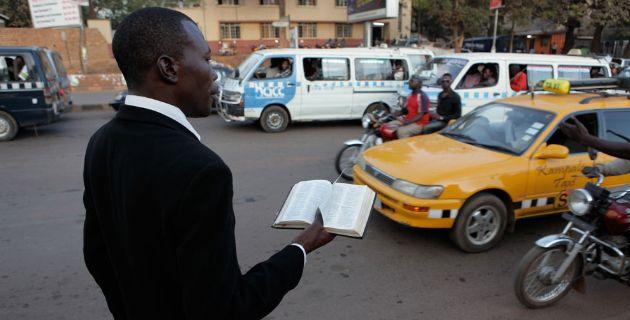 Street preacher in Kampala, Uganda.