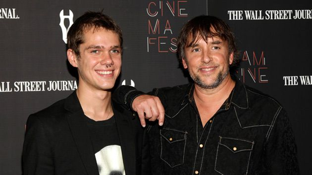 "Richard Linklater and Ellar Coltrane at a ""Boyhood"" premiere."