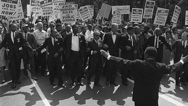 black and white photo of the March on Washington
