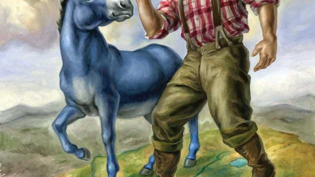 Paul Bunyan with blue ox