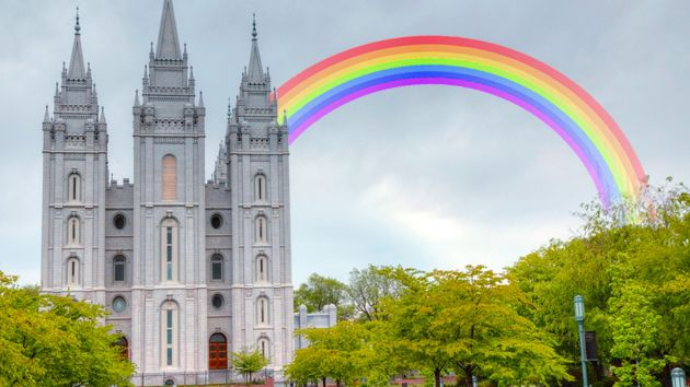 Mormon temple, with rainbow