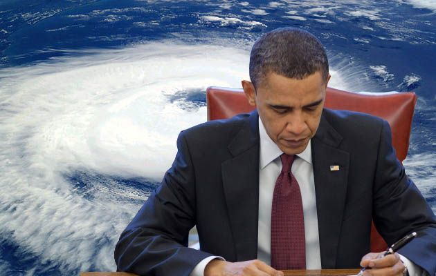 Obama in front of a hurricaine