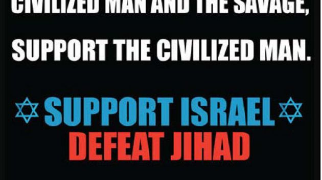 Pamela Geller's Islamophobic flyer that is pro-Israel and anti-Islam