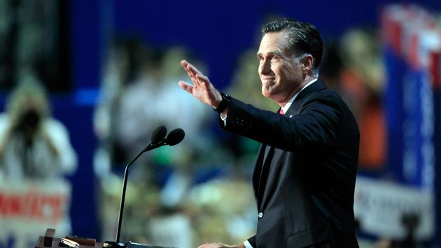 Mitt Romney takes the stage during the 2012 Republican National Convention at t