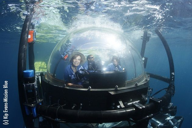 Dr. Sylvia Earle prepares for a dive in the DeepSee submersible - Coiba, Panama.