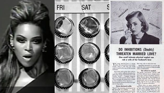 Three panel crop of Beyonce, birth control, Lysol ad