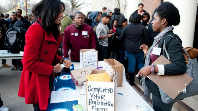 An Obama for America voter registration drive at North Carolina Central University in 2012
