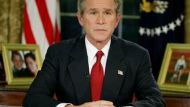 President George W. Bush announces the invsasion of Iraq on March 19, 2003.