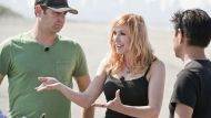 "Kari Byron with MythBusters ""Build Team"" members Tory Belleci and Grant Imahara"