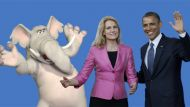 Obama, Thorning-Schmidt, elephant